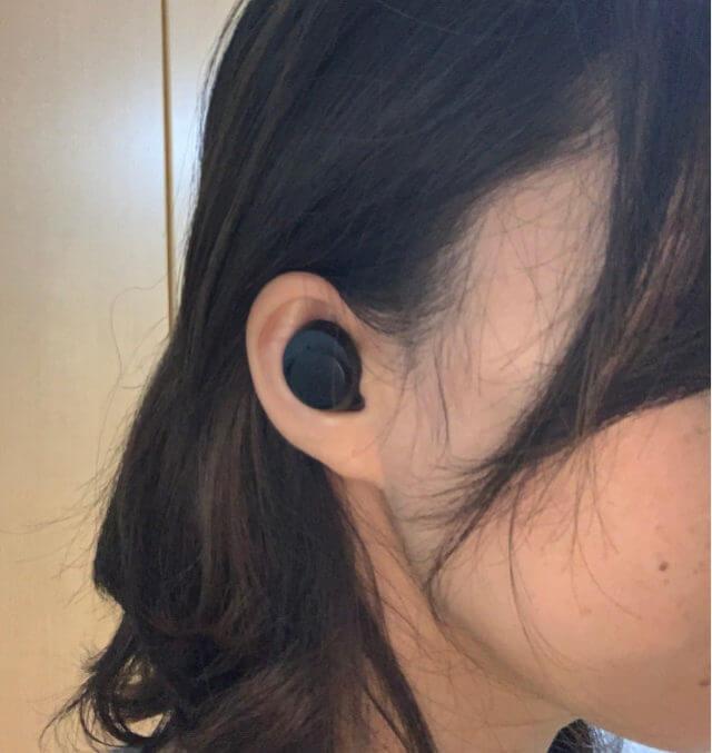 ワイヤレスイヤホンを耳に付けたらフィット感たまらん